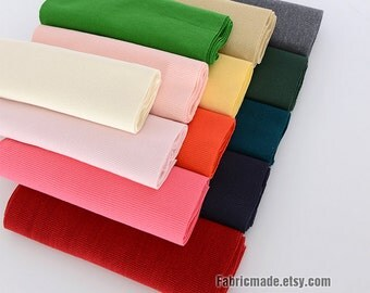 20cm Width Ribbing and Binding Knit Fabric For Neckline, Cuffs, Hems - Choose From 47 colors