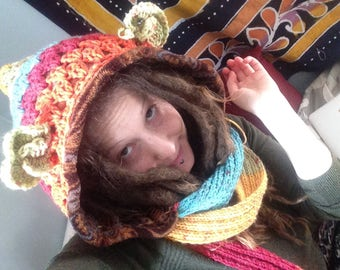 Cozy Creature HeadyHoody spirit hood, animal hood, upcycled, hoody with ears, bear hood, bear hat, dreadlocks, fairy hood, hooded scarf