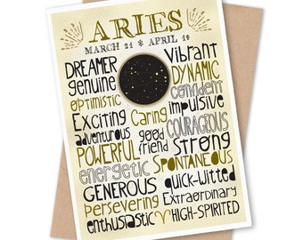 Aries Traits Greeting Card - Astrological Sign, Constellation Art - Zodiac Typography Design