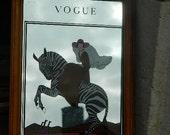 Vintage advertising mirror. Mirror of Vogue. Mirror of pub. Decor at home. . Art deco style.