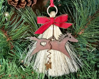 Rustic Primitive Spirit Horse Horsehair Tassel Christmas Holiday Ornament with Cutout Heart and Star
