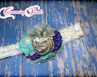 Aqua, Purple, Grey Hair Accessory, Turquoise, Gray Headband, Violet Hair Clip, Purple Hair Piece, Wedding, Fabric Flower Hair Accessories