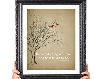 The BEST is yet to be, 50th Wedding Anniversary Gift, 1st Anniversary Gift, Family Tree Print, Birds,Vintage Image, Shabby Chic