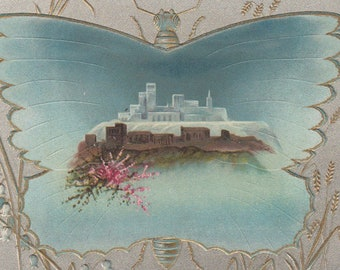 Fantasy City Inside A Butterfly Victorian Album Card