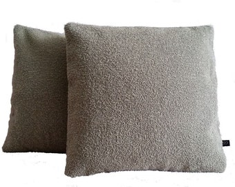 Two (2) Luna Winsome Griege Beige Wool Boucle PIllow Covers SW1-5216 (B1)