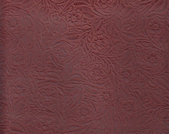 Thirty Four (34) Square Foot Silverstone Upholstery Leather Floral Embossed Weathered Red  Half Hide (IP6)