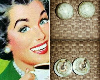 Vintage 1950s Green Marbleized Plastic  Clip on Earrings
