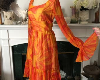 Emma Domb Orange Chiffon 60s Party Dress