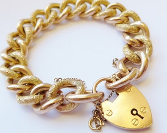 Substantial Antique Victorian 9ct Gold Heart Padlock Curb Bracelet Night and Day Heavy With Large Links - Top Quality (M632)