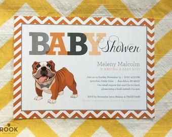 Bulldog Baby Shower Invitation with Chevron Monogram, bulldog baby shower, dog pet theme invitation, bully theme shower, baby bulldog invite