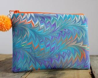 Hand Marbled Zip Pouch - Purple, Teal & Orange - item #8002