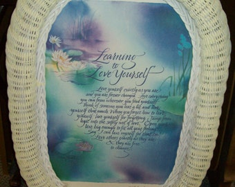 White Wicker Oval Frame with 'Learning to Love Yourself' Saving, 1980's, Cottage Chic, Shabby styling, rosesandbutterflies, spiritual