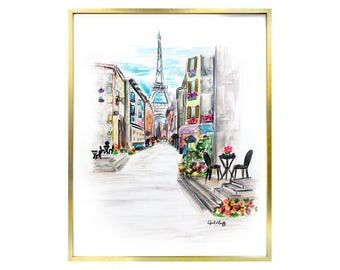 Paris Watercolor Print | Skyline, Eiffel Tower, Wall Art, France, Watercolor Illustration, City, Parisian Artwork, Chic, Pencil Drawing,