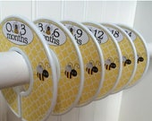 ON SALE 6 Baby Closet Dividers Girl Bumble Bees Baby Girl Nursery Clothes Organizers Baby Shower Gift Clothes Dividers