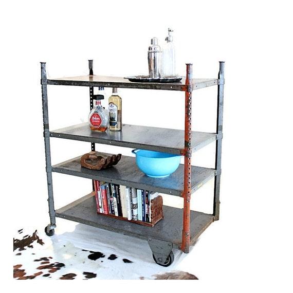 Urban Industrial Age Kitchen Warehouse Cart Island By: Vintage Industrial Cart Steel Rolling Shelf Heavy Gauge