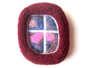 Felted brooch, needle felted pin, burgundy window, felted wool badge.