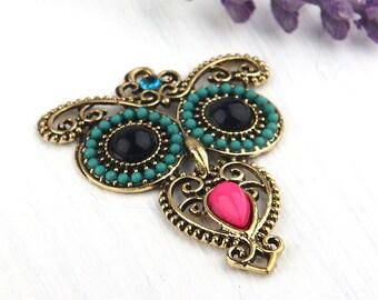 Antique Bronze Owl Pendant, Bird Jewelry, Owl Jewelry, 1 piece // ABP-074