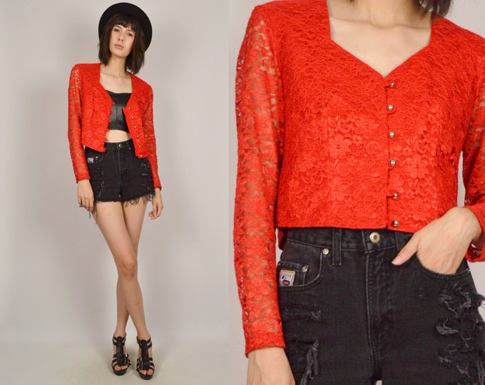 Vintage Red Lace Shirt Long Sleeve Cardigan