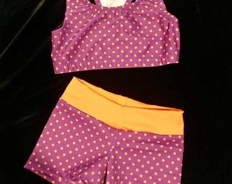 Purple and orange polka dot cheer outfit
