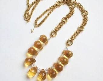 chunky golden necklace | faceted glass drops | Swarovski crystals | vintage chain | upcycled jewelry