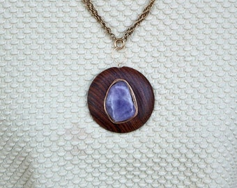 Wooden Pendant - Amethyst with Gold Wire