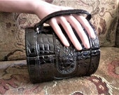 Black Mock Crock Purse