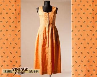 Orange Pinafore Dirndl Dress / Austrian German Button Down Trachten Oktoberfest folk dress by Isar Trachten / Size Extra Large Plus