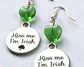 St. Patrick's Day Earrings - kiss me I'm Irish - St Paddy's Day earrings