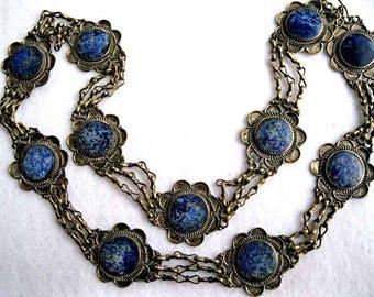 Lapis Lazuli Necklace, Silver Flowers Sodalite Medallions, Hippie Tribal Belt, Renaissance Gypsy, Blue Mineral Stones, Silver Ethnic Belt