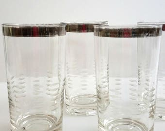S/5 Dorothy C Thorpe Highball Tumbler Cocktail Glasses - Hash Dash Etched with Silver Band