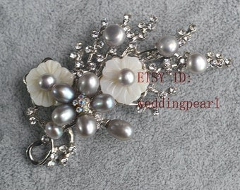 gray pearl brooch, 5-7mm freshwater Pearl brooch,blooming branch brooch,shell flower brooch,wedding day brooch.mother brooch,Christmas