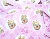 Cup Cat enamel pin, pastel, 30mm, pink, blue, gold, cute, kawaii, heart, tea coffee lover, cat lover
