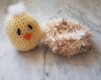 Chick Crochet Baby Yellow Fluffy Easter Nest