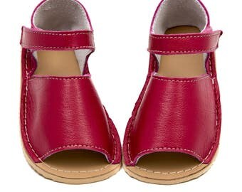 Watermelon Toddler Leather Sandals, linig, Vibram sole, support barefoot walking, sizes EU 19 to 30 - US 4.5 to 12