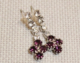 Xmas SALE Vintage Purple Rhinestone Earrings