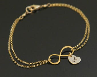 Gold INFINITY Initial Bracelet, Heart Initial Bracelet, Gold Heart Bracelet, Love Bracelet, Gold Filled, Vermeil.
