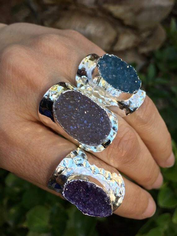 Druzy Rings, boho jewelry