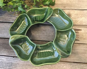 Vintage lazy susan style serving dish 3 parts and green