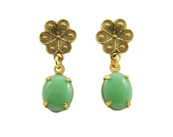 Greenery Flower Earrings in Antiqued Gold