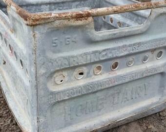 Vintage galvanized milk crate , Pinkerton milk crate , vintage milk crate , galvanized crate