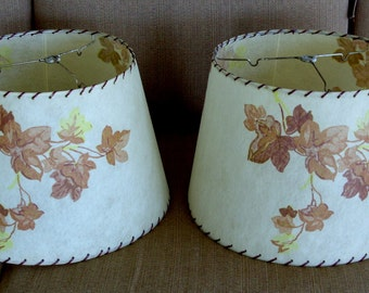 Fiberglass Mid Century Pair of Lamp Shades Brown, Rust and Yellow Leaves Red/Brown Lacing 1940's - 1950's