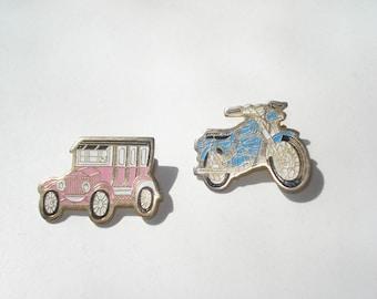 Vintage Car and Bike Pin - Enamel Motor Car and Motorbike - Retro Jewelry Brooch - 1980s