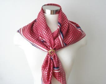 Vintage Red and White Square Striped Scarf - Xiang pai - Bold Polka Dot Scarves - Womens Accessories