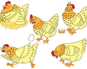 70% OFF SALE Chicken Clipart - Digital Vector Farm, Bird, Hen, Egg, Rooster, Easter, Chicken Clip Art
