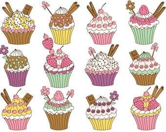 Cupcakes Clipart - Digital Vector Cupcake, Chocolate, Strawberry, Cupcake Clip Art
