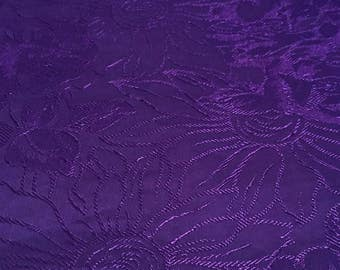 Vintage Cotton Poly Purple Floral Fabric, sewing remnant yardage, flowered craft supply material