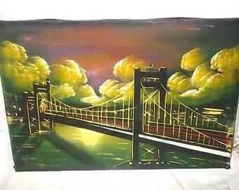 Vintage Velvet Painting, Painting of Bridge, Vintage Velvet Bridge Painting, Mexican Folk Art, Vintage Home Decor,