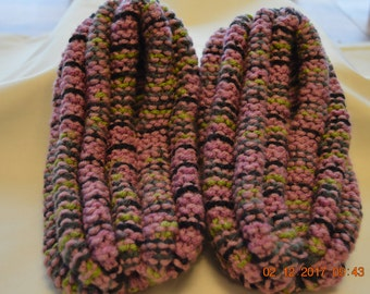 Slippers-Womens Pink/Purple/Green Extra Thick Knitted