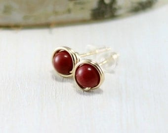 Gold Coral Earrings, 14k Gold Filled Red Coral Stud Earrings Yellow Gold Wire Wrapped Post Earrings Coral Jewelry