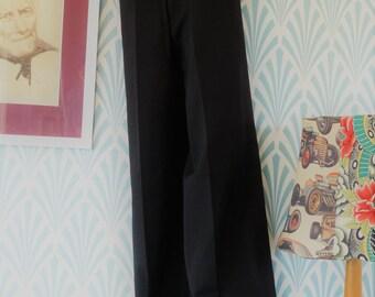 "38. Vintage flared worsted wool-polyester Eural Tergal pants black (W31-L111cm / W12.2-L43.7"")"